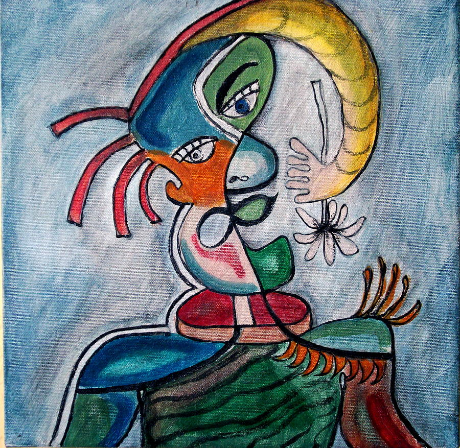 Abstract Face Painting - Hand Me A Flower by W  Todd Durrance