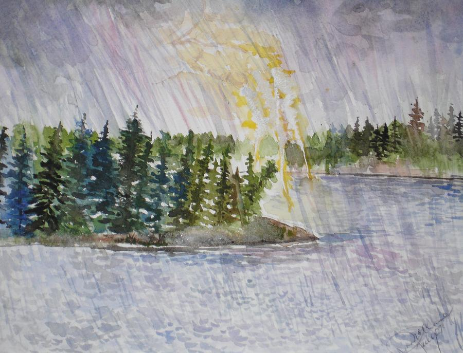 Watercolor Painting - Hand Of God Storm Over Lake Jordan by Mona McClave Dunson