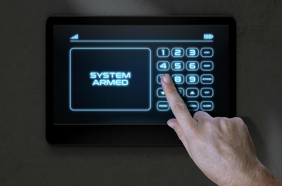 Security Digital Art - Hand Pressing Modern Home Security by Allan Swart