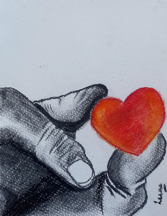 Charcoal Painting - Hand With Heart by Leena Kewlani