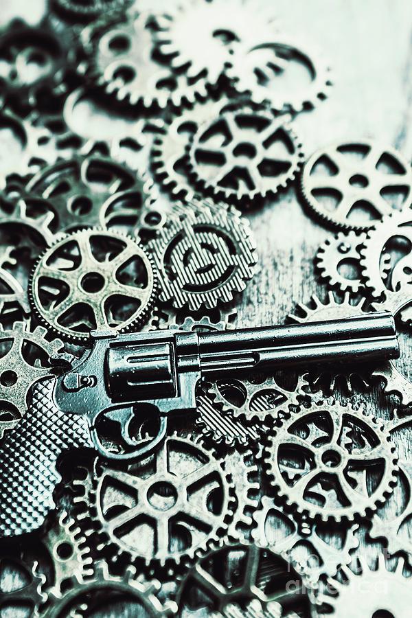 Handguns Photograph - Handguns And Gears by Jorgo Photography - Wall Art Gallery