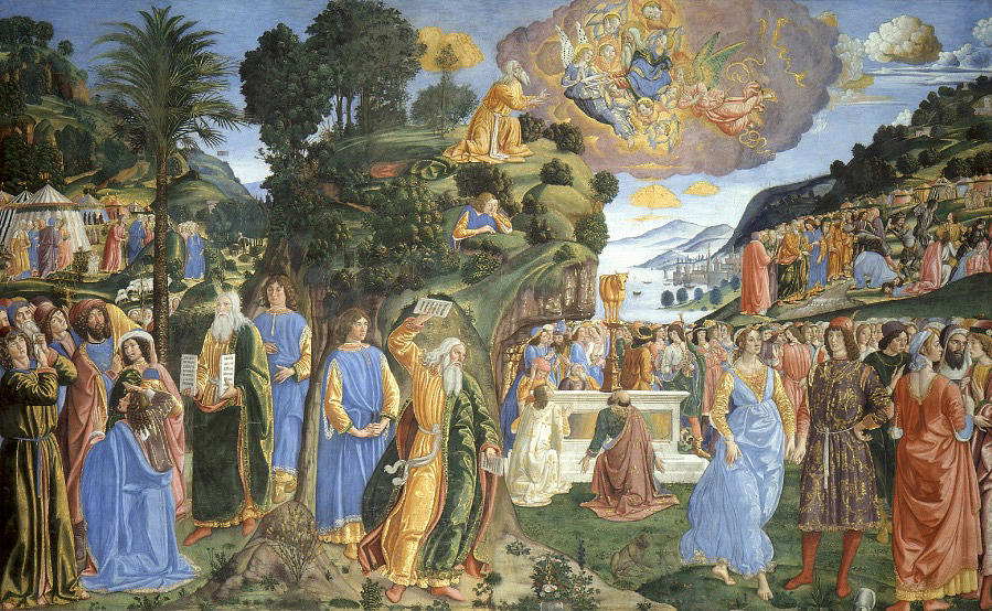 Angel Painting - Handing Over Of The Tablets Of The Law by Cosimo Rosselli