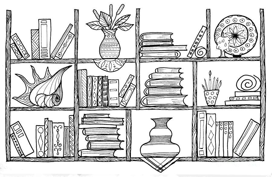 Handmade Graphic Picture Bookshelf Drawing By Julia Faranchuk