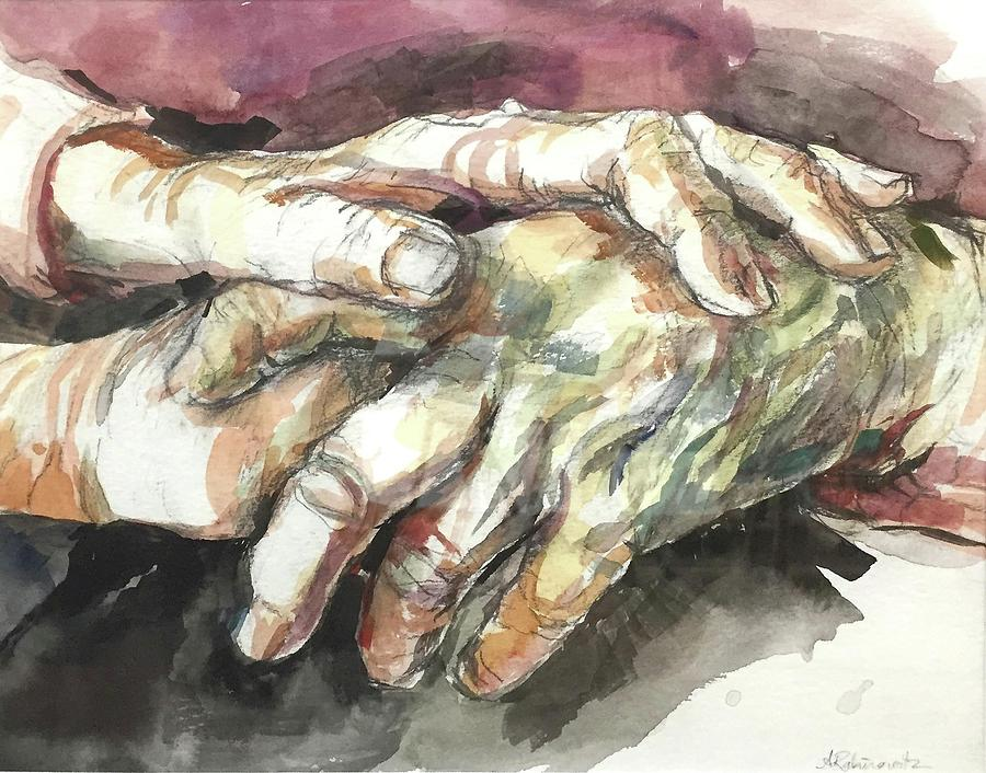 Watercolor Painting - Hands by Abbie Rabinowitz