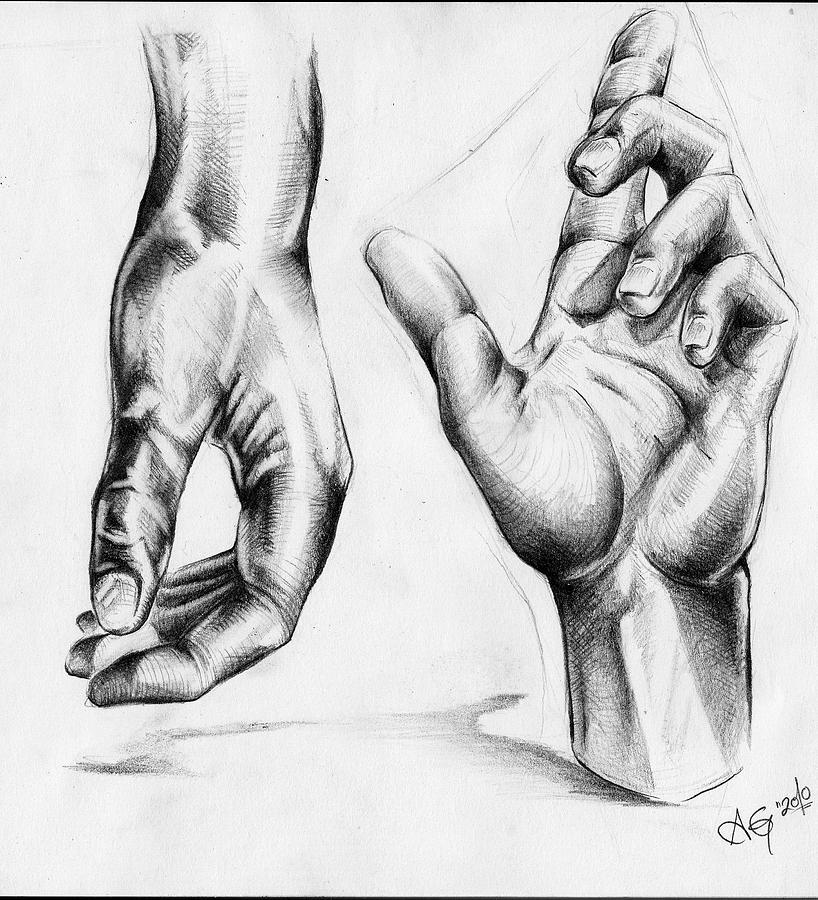 Drawing Drawing - Hands by Adam Gillespie