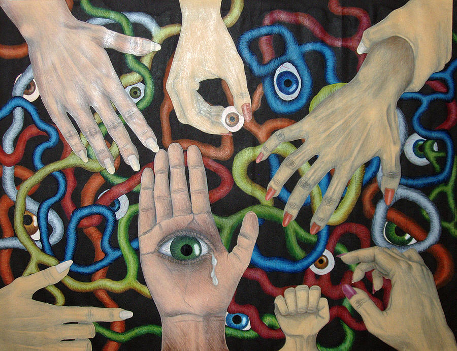 Collage Drawing - Hands And Eyes by Nancy Mueller