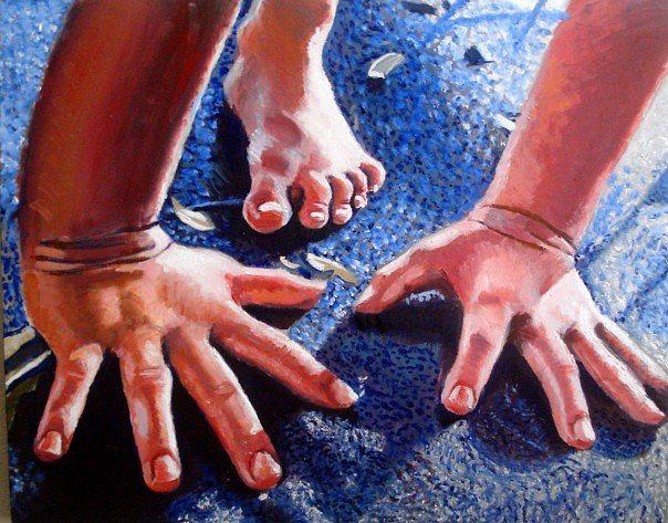 Hands Painting - Hands And Foot by Zachary Goodson