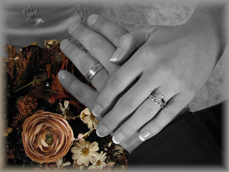 Wedding Photograph - Hands And Rings by Ashley Cameron