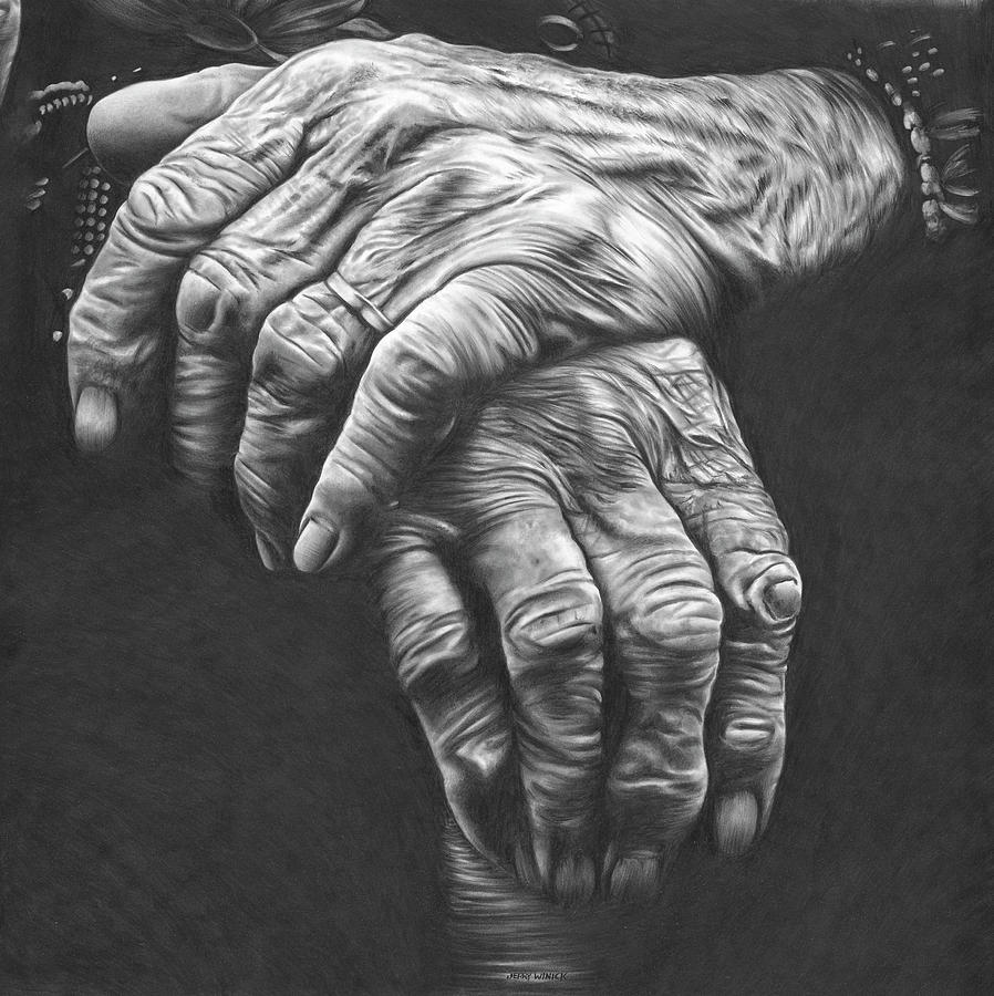 Hands Drawing by Jerry Winick
