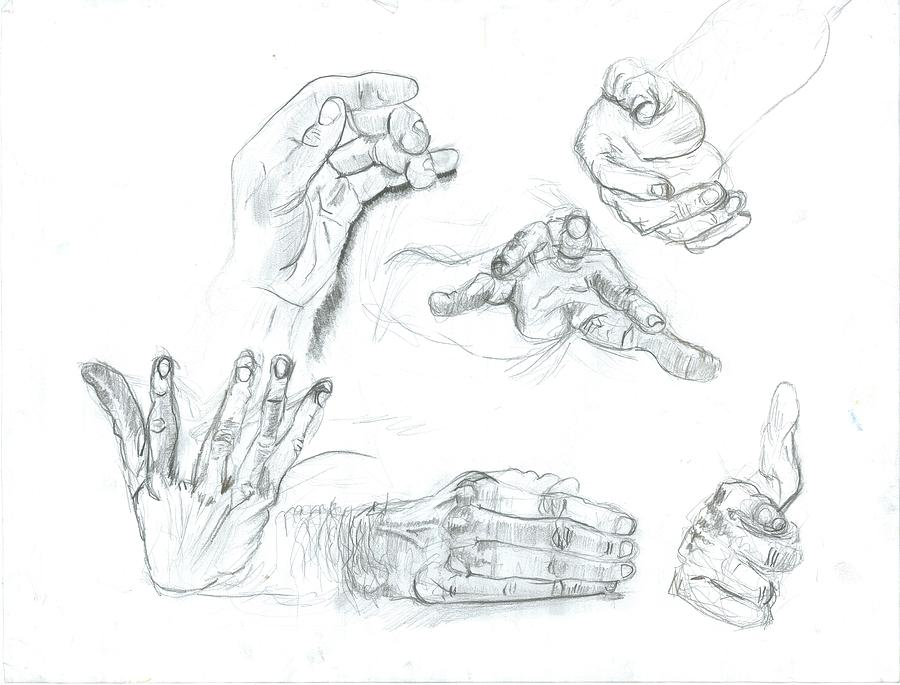 Hands Drawing by Joseph  Arico