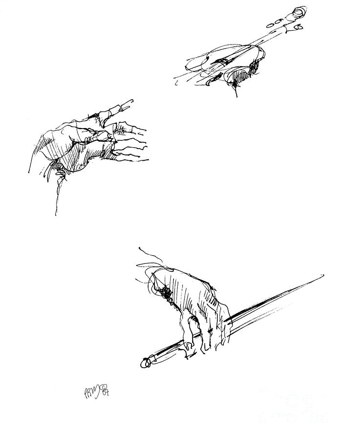 Hands Of A Violin Player Drawing by Paul Miller