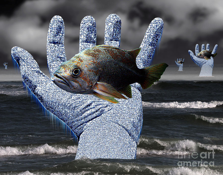 Ocean Digital Art - Hands Of The Lost Fishermen by Keith Dillon