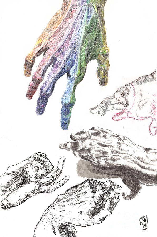 Hands Of The Masters Drawing by Michael Wehner