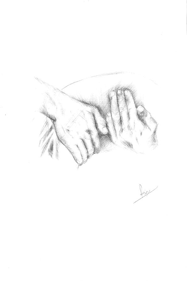 Rani Drawing - Hands by Reza Naqvi