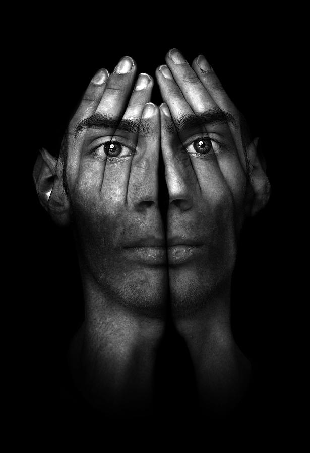Man Photograph - Hands Trying To Cover Eyes by Evan Sharboneau