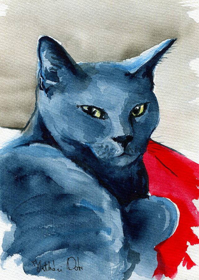 Cat Painting - Handsome Russian Blue Cat by Dora Hathazi Mendes