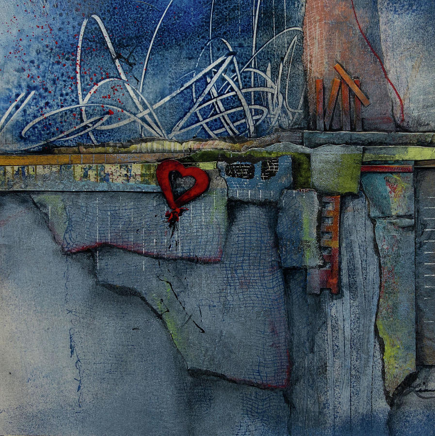 Collage Mixed Media - Hang On, Love  by Laura Lein-Svencner