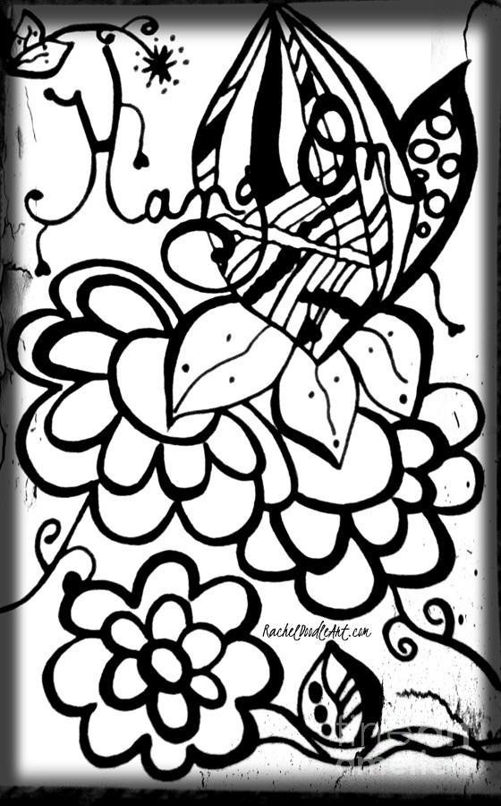 Doodle Drawing - Hang On by Rachel Maynard