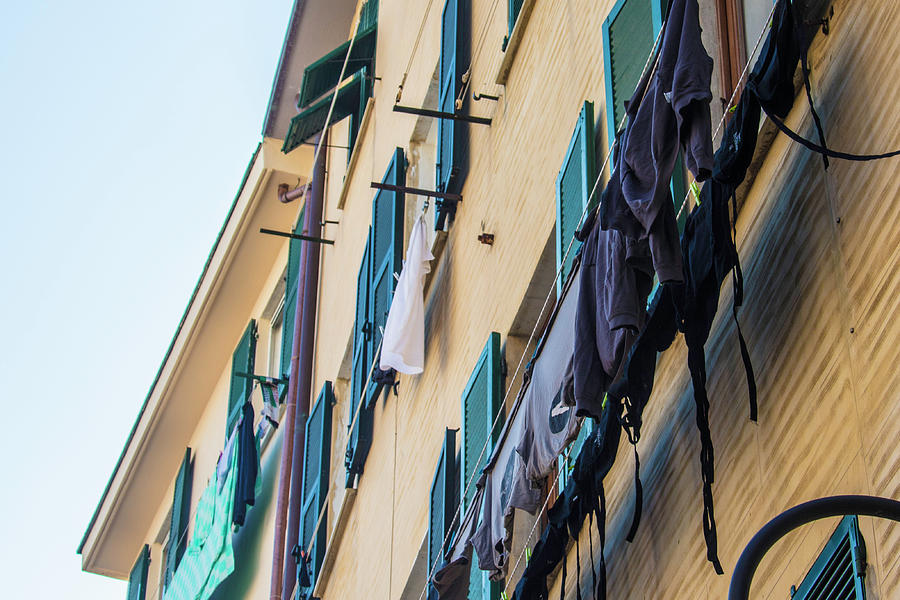 Hanging Clothes In Cinque Terre Photograph