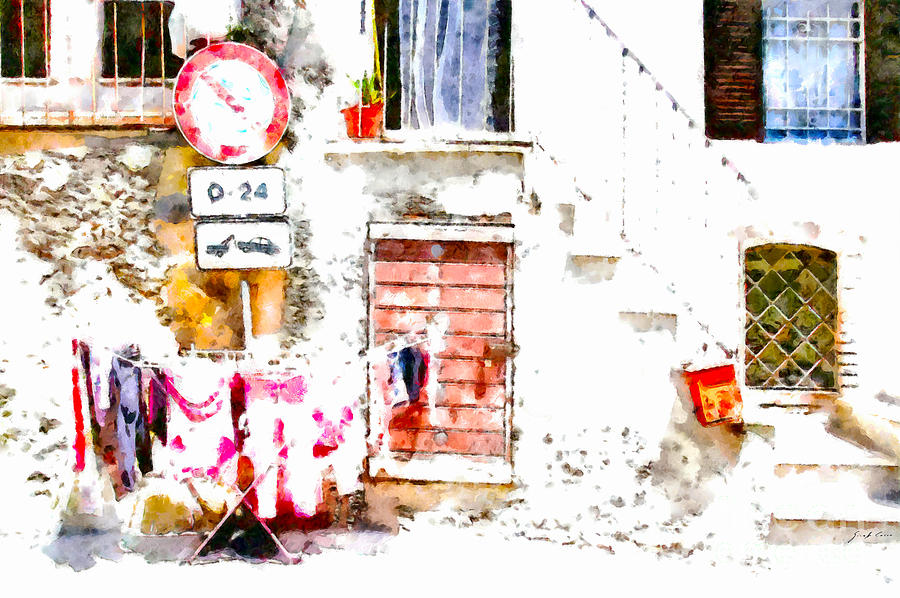 Staircase Painting - Hanging Clothes Under Road Sign by Giuseppe Cocco