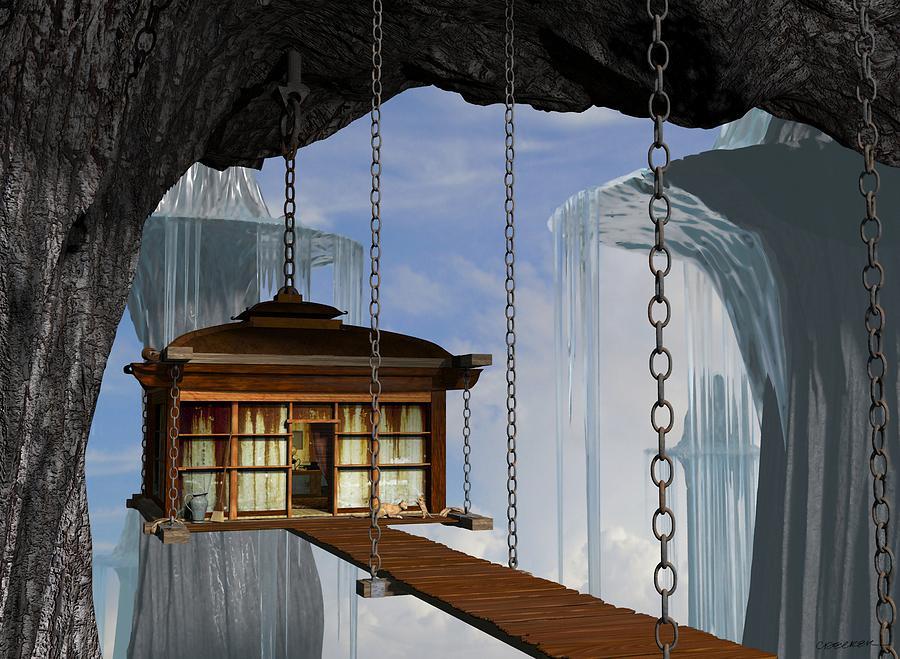 Fantasy Digital Art - Hanging House by Cynthia Decker