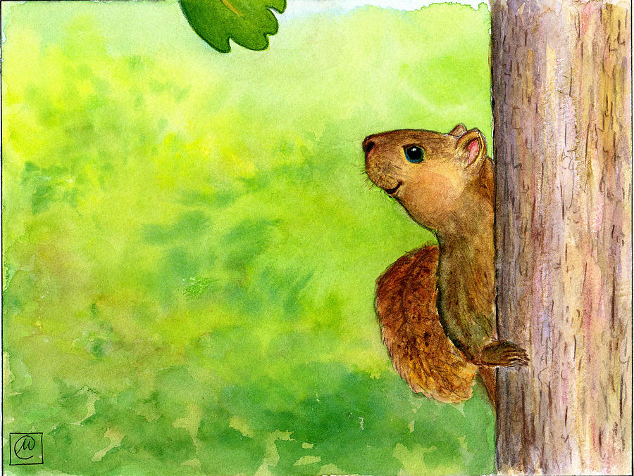 Squirrel Painting - Hanging Out. Alfons Talking With Larrimore Leaf by Monika Kretschmar