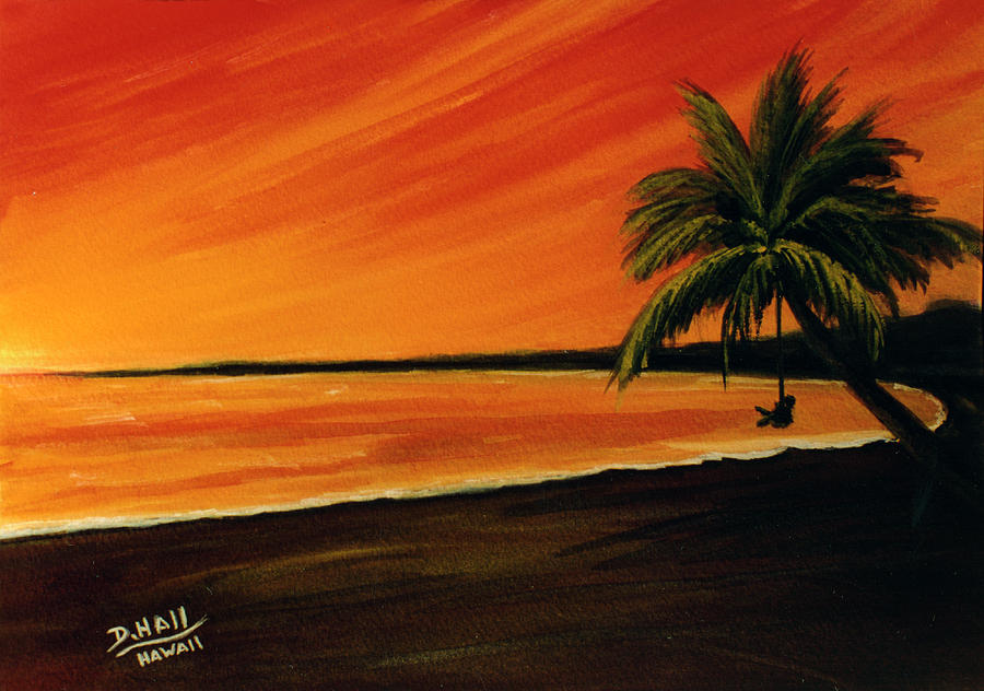 Hawaii Painting - Hanging Out At The Beach #153 by Donald k Hall