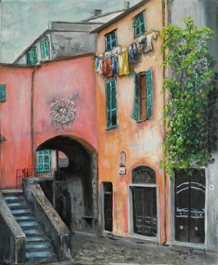 Cityscape Painting - Hanging Out in Monterosso al Mare by Dan Bozich