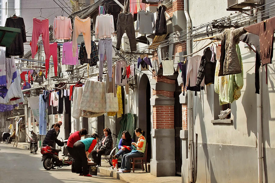 Clothes Photograph - Hanging Out In The Streets Of Shanghai by Christine Till