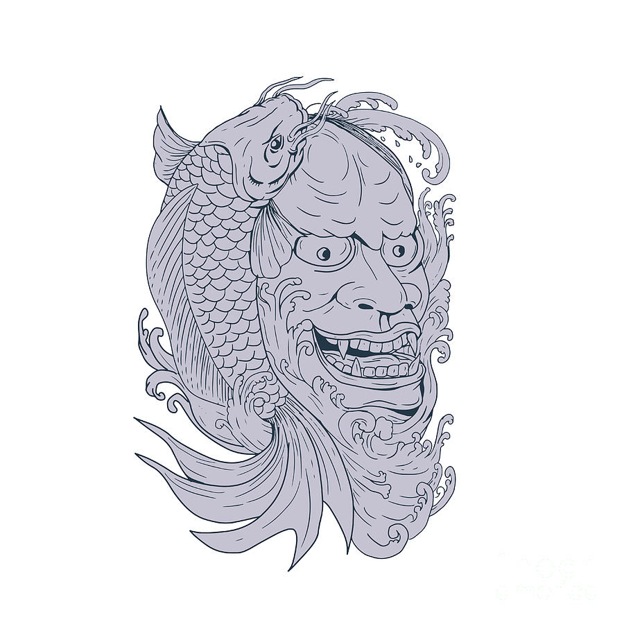 Hannya Mask And Koi Fish Drawing Digital Art By Aloysius Patrimonio