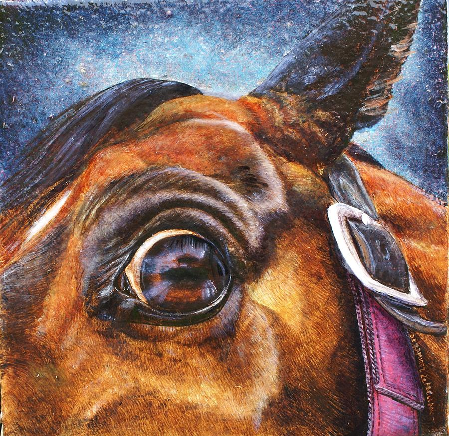 Horse Painting - Hanovarian Eye by D Katherine Ramirez de Arellano