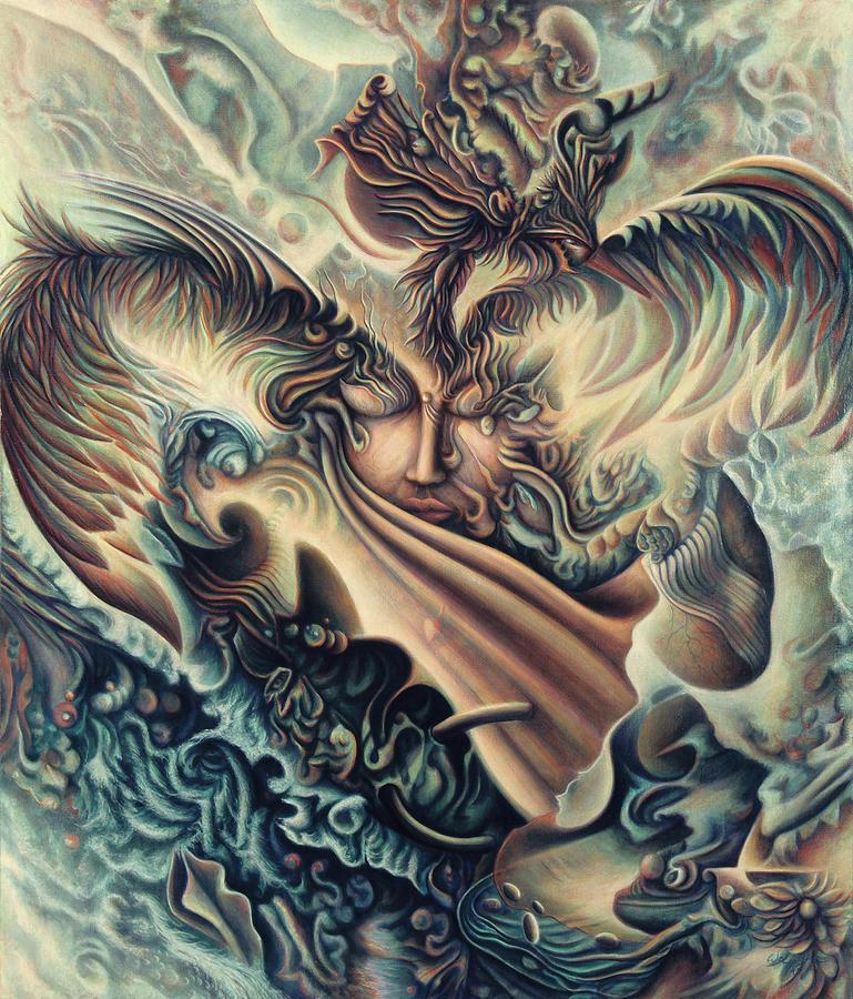 Spiritual Painting - Hansa Swann by Nad Wolinska