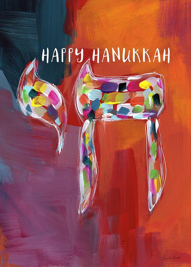 Hanukkah Chai- Art By Linda Woods Mixed Media