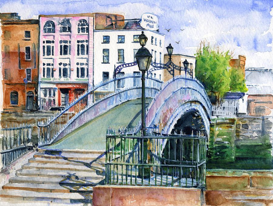 Ha Penny Bridge Dublin Painting By John D Benson