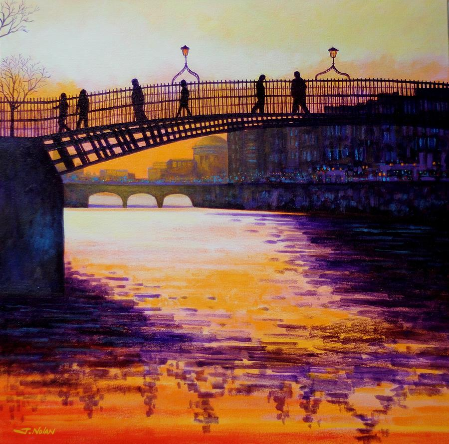 Dublin Painting - Hapenny Bridge Dublin by John  Nolan