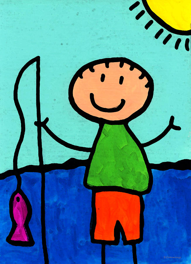 Childlike Painting - Happi Arte 2 - Boy Fish Art by Sharon Cummings
