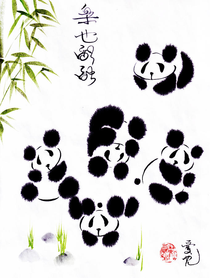 Panda Painting - Happiness Is Getting Along by Oiyee At Oystudio