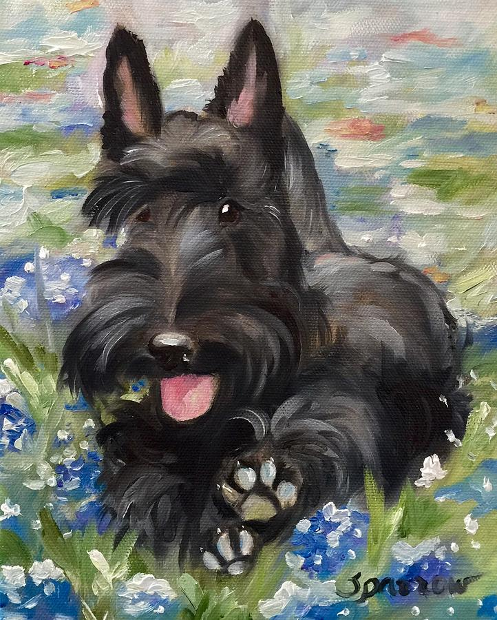 Scottish Terrier Painting - Happiness Is...  by Mary Sparrow