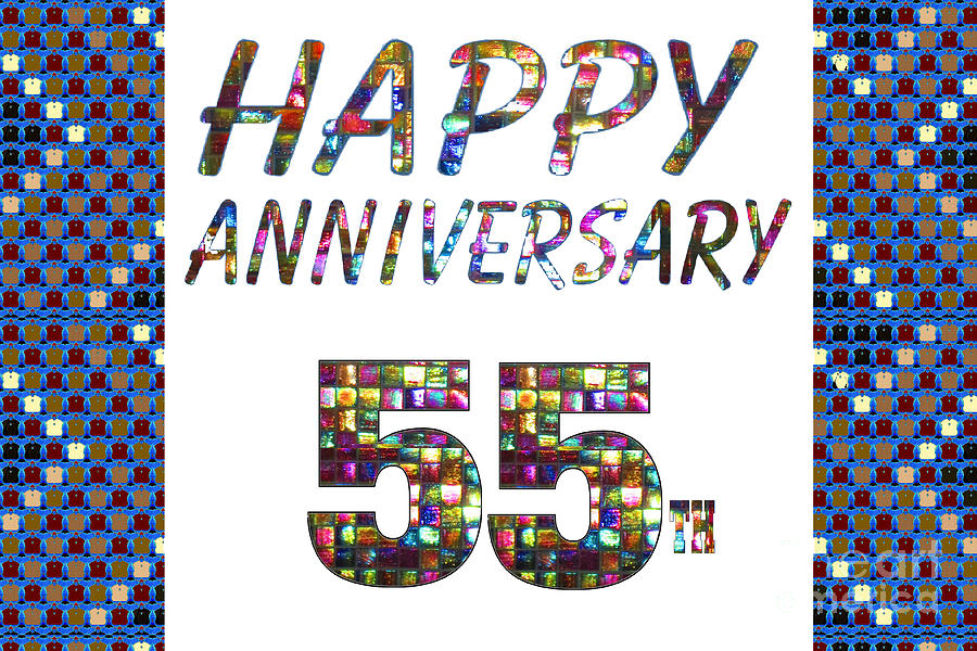 Happy 55 55th Anniversary Celebrations Design On Greeting Cards T Shirts Pillows Curtains