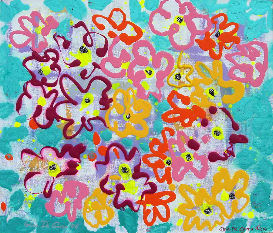 Abstract Painting - Happy Abstract Flowers by Gina De Gorna