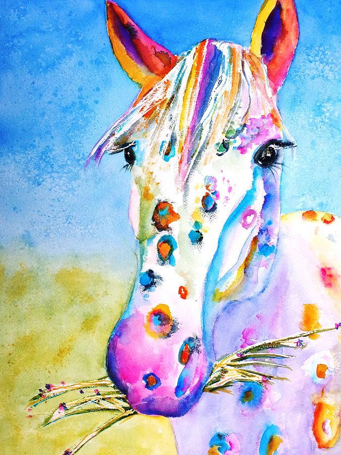 Horse Painting - Happy Appy by Carlin Blahnik CarlinArtWatercolor