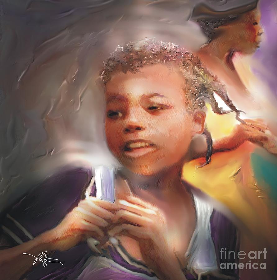 Girl Painting - Happy At Play by Bob Salo