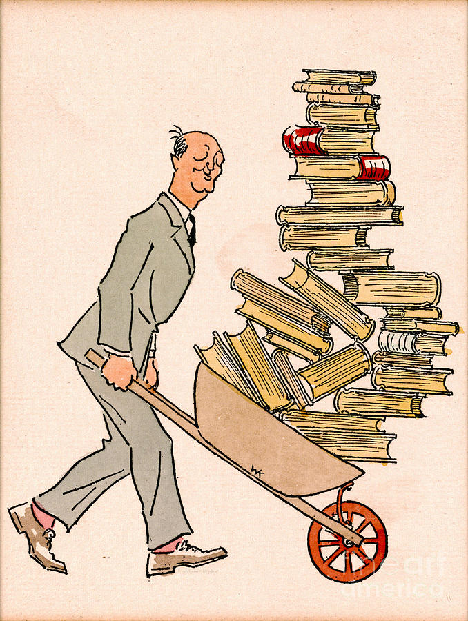 Vintage Drawing - Happy Bibliophile 1930 by Padre Art