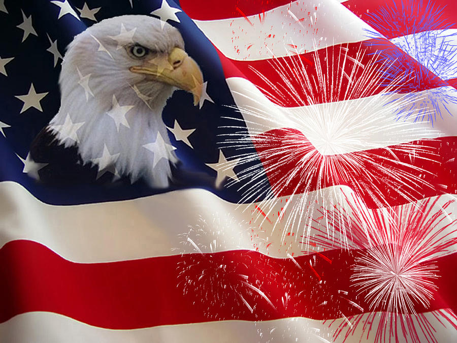 Eagle Digital Art - Happy Birthday America by Evelyn Patrick