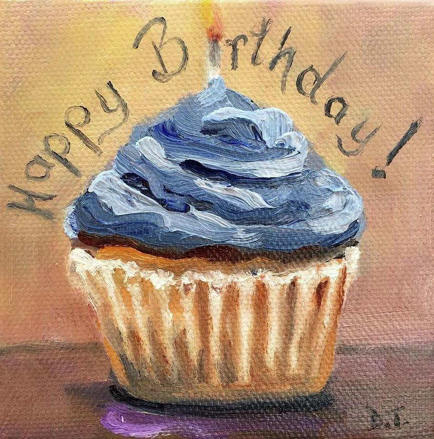 Happy Birthday Cupcake Painting By Donna Tuten