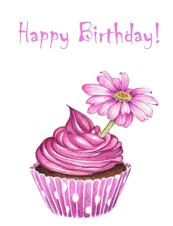 Happy Birthday Cupcake Mixed Media by Heidi Kriel