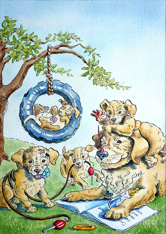 Animals Painting - Happy Birthday Daddy by Debbie  Diamond