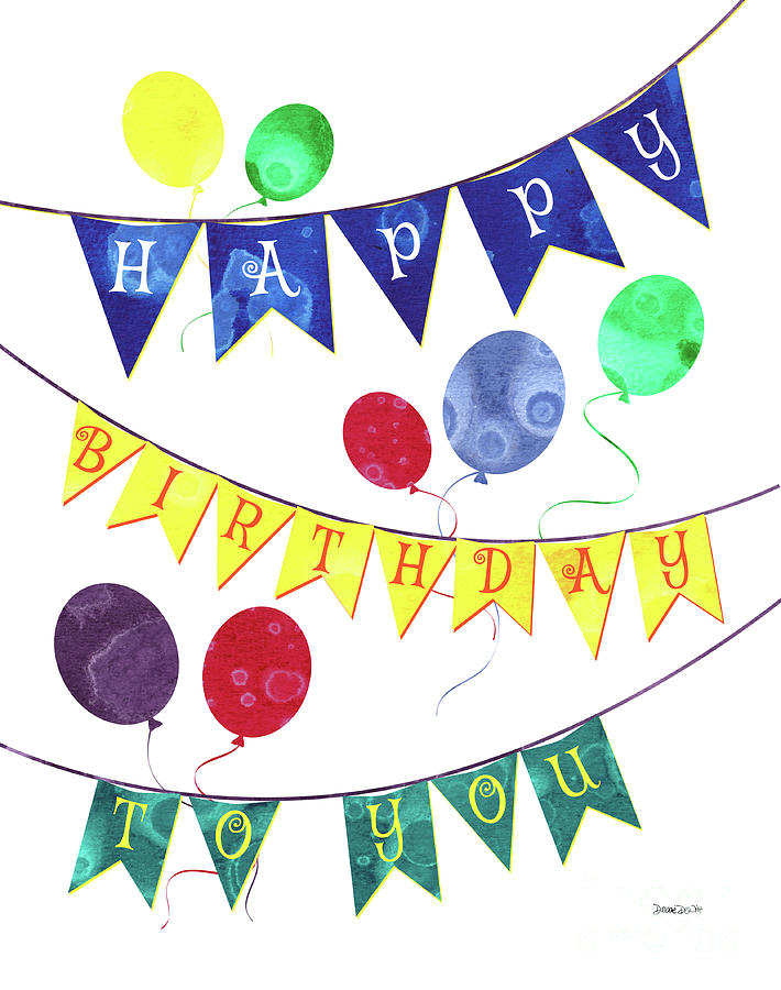 Birthday Painting - Happy Birthday Flag by Debbie DeWitt