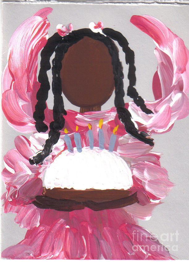 Angel Painting - Happy Birthday From The Cake Angel by Roz Roy