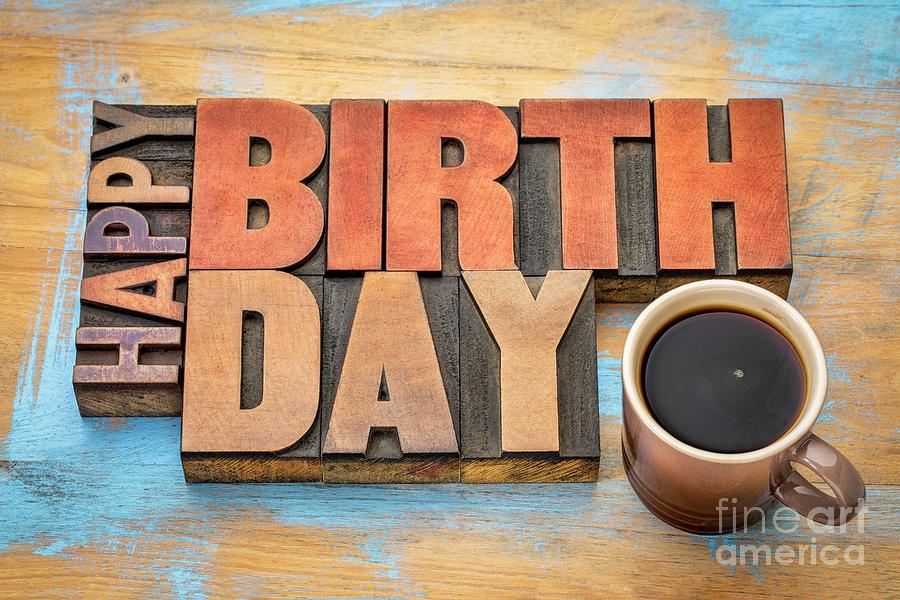 Happy Birthday greeting card in wood type  by Marek Uliasz